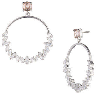Carolee Blushing Bride Crystal Hoop Earrings