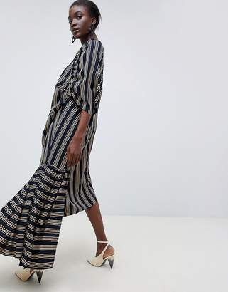 Asos Cut About Stripe Frill Hem Dress