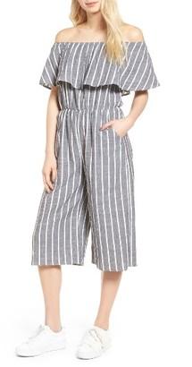 Women's Everly Stripe Cotton Off The Shoulder Jumpsuit $55 thestylecure.com
