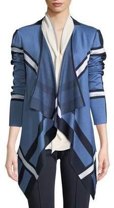 St. John Variegated Striped Knit Cardigan