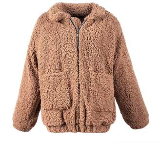 MIOIM Womens Warm Fluffy Shaggy Faux Fur Zip up Jacket Casual Oversized Outwear Coat