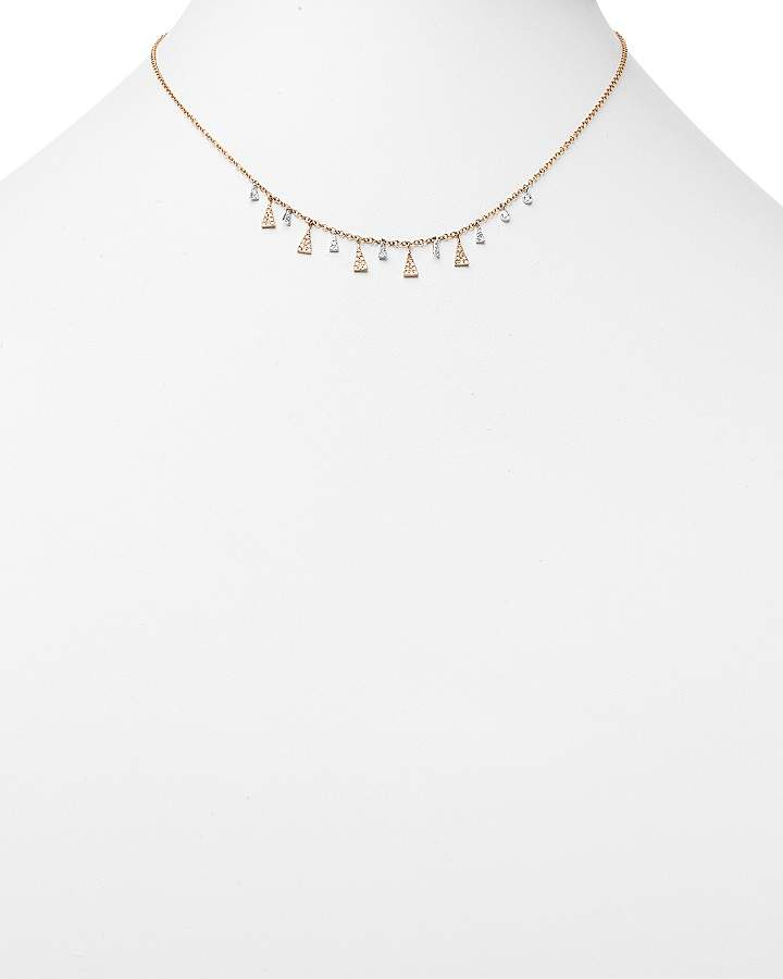 """Meira T 14K White and Rose Diamond Triangles Necklace, 16"""""""
