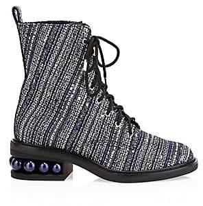 Nicholas Kirkwood Women's Castari Faux Pearl Denim Combat Boots