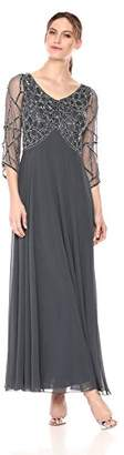 J Kara Women's 3/4 Sleeve Geo Beaded Gown,8