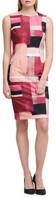 DKNY Sleeveless Sunset Box-Print Sheath Dress