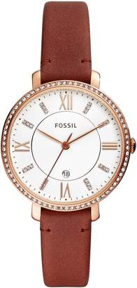 Fossil Jacqueline Crystal Bezel Leather Strap Watch, 36mm