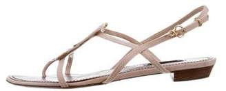Louis Vuitton Monogram Patent Leather-Trimmed Sandals
