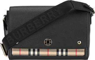 Burberry Note Shoulder Bag In Leather And Fabric With Vintage Check Pattern
