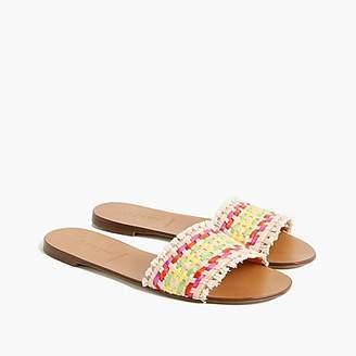 J.Crew Slide sandals in multi-colored raffia