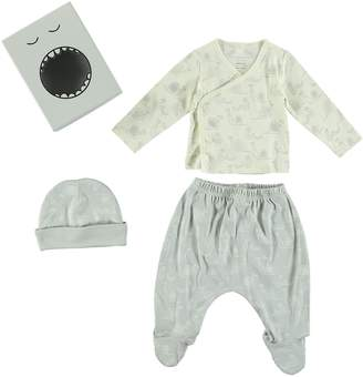 Stella McCartney Little Starling Wrap Top, Footed Pants & Hat Set