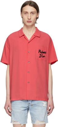 Double Rainbouu Pink Logo Palm Hawaiian Shirt