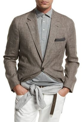 Brunello Cucinelli Deconstructed Prince of Wales Sport Jacket, Brown $2,395 thestylecure.com