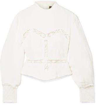 Isabel Marant Lace-trimmed Linen Blouse - Ecru