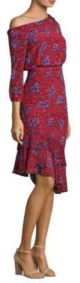 Saloni Lexie Silk One-Shoulder Dress