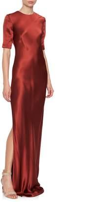 Rojas Alejandra Alonso Short-Sleeve Crepe & Silk Chiffon Gown
