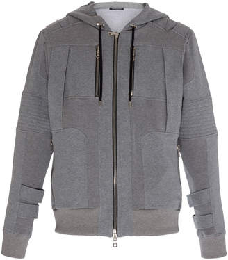 Balmain Hooded Paneled Ribbed Cotton Jacket