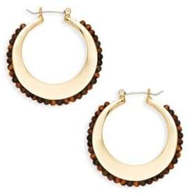 Ava & Aiden Goldtone Tiger's Eye Beaded Hoop Earrings