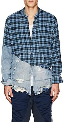 Greg Lauren Men's Plaid Flannel & Denim Studio Shirt