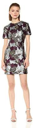Dress the Population Women's Holly Short Sleeve High Neck Sequin Shift Dress