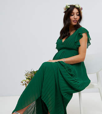 TFNC Maternity Maternity flutter sleeve bridesmaid maxi dress with pleated skirt in forest green