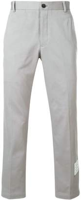 Thom Browne grey logo patch tailored cotton trousers