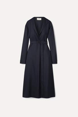 The Row Tula Belted Wool Midi Dress - Storm blue