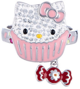 Swarovski Crystal Hello Kitty Cupcake Ring - Size 7 $79 thestylecure.com