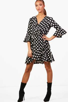 boohoo Woven Big Spot Wrap Dress