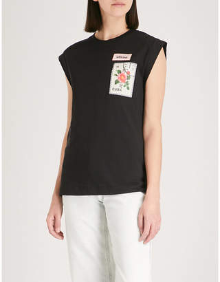 Sandro Embroidered patch capped sleeve T-shirt