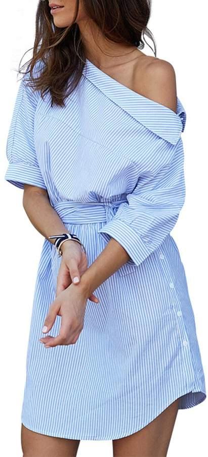 Simplee Apparel Women's Half Sleeve One Shoulder Side Split Shirt Dress