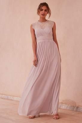 d7b2a39cd9a0 Next Lipsy Elsa Mesh Maxi Dress with Lace Sleeve - 12