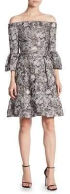 Theia Quartz Fit-&-Flare Bell-Sleeve Dress