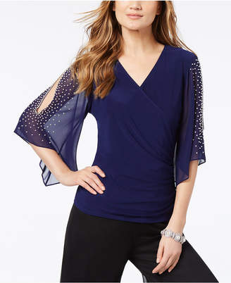 MSK Embellished Split-Sleeve Surplice Top