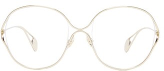 Gucci Round Frame Metal And Faux Pearl Glasses - Womens - Gold