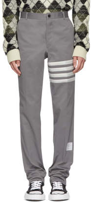 Thom Browne Grey Seamed Four Bar Unconstructed Chino Trousers
