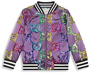 Gucci Girl's GG Sequin Embroidered Satin Bomber Jacket