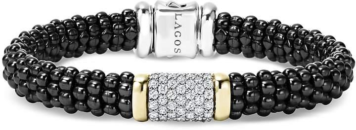 Lagos Black Caviar Ceramic Bracelet with Pave Diamonds and 18K Gold