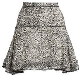 Derek Lam 10 Crosby Floral Stretch Silk Flare Skirt