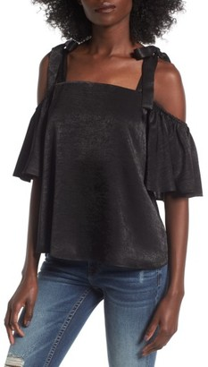 Women's Soprano Satin Cold Shoulder Top $45 thestylecure.com
