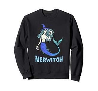 Funny Merwitch Mermaid Witch Halloween Gift Women Teen Girls Sweatshirt