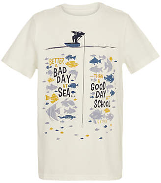 Fat Face Boys' Better A Bad Day T-Shirt, Ecru