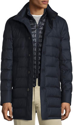 Moncler Vallier Quilted Down Coat, Navy