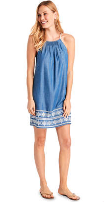 Vineyard Vines Shoreline Embroidered Chambray Pintuck Dress