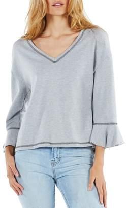 Michael Stars Ruffle Sleeve Reversible Sweatshirt