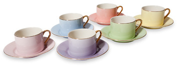 Bed Bath & Beyond Classic Coffee & Tea Solid Teacup and Saucer - Assorted Pastels/Gold (Set of 6)