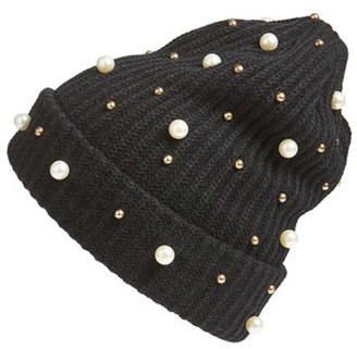 Women's Cara Embellished Beanie - Black $32 thestylecure.com