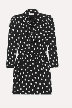 Saint Laurent Pussy-bow Printed Crepe Mini Dress - Black