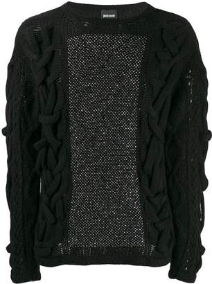 Just Cavalli embellished textured knit sweater