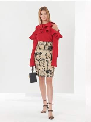 Oscar de la Renta Rustic Flower Harvest Jacquard Skirt