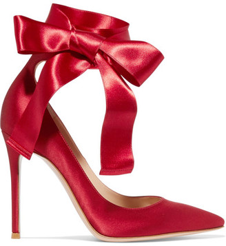 Gianvito Rossi - Lace-up Satin Pumps - Burgundy $795 thestylecure.com